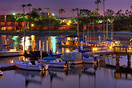 A typical nighttime scene of the Mission Bay area of San Diego.