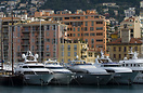 Motor yachts moored in the old harbour, Nice