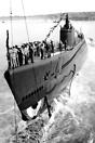 The USS Scamp being launched on 20th July 1942. She was lost in the Pa...