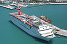 The Carnival Fascination docked at Key West harbour