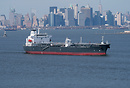Tanker ship, Valle Azzurra, seen here departing New York.