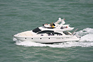 An Azimut 50 motor yacht cruising along the waterways of Venice