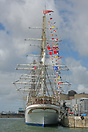 The Statsraad Lehmkuhl docked in Liverpool as part of the Tall Ships R...
