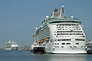Two Royal Caribbean giants together in Southampton, as the newly deliv...