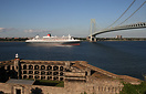 Queen Mary 2, seen here from Fort Wadsworth on Staten Island, departin...