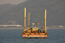 Drilling for seabed data prior to the building of the Hong Kong to Mac...