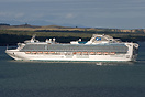 Diamond Princess sailing in the Rangitoto channel as the sun comes out...