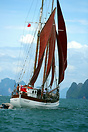The schooner 'Schwalbe' sailing in Phang Nga Bay in the Andaman Sea, T...