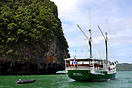 The phinisi 'Merdeka' moored in Phang Nga Bay in the Andaman Sea, Thai...