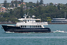 The 81' Cape Horn motor yacht 'Columbus' leaving the Waitemata Harbour...