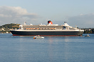 Queen Mary 2 cruising into the Waitemata Harbour and about to pass Mt ...