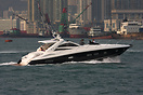 The Sunseeker Portofino 53 'Pod' in Hong Kong harbour