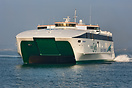 Irish Ferries Jonathan Swift arriving in Holyhead port on one of the d...