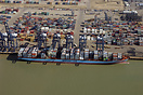 The container ship 'Axel Maersk' berthed in the Port of Felixstowe, UK