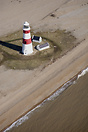 The Orfordness Lighthouse on the Orford Ness shingle spit on the Suffo...
