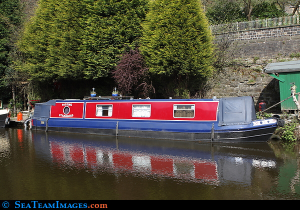 Narrow Boat Passing Strangers