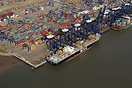 The container ship MSC Soraya in the Port of Felixstowe from the air