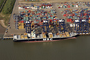 The container ship 'MSC Soraya' alongside the Port of Felixstowe, UK f...