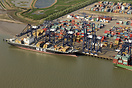 The Port of Felixstowe with the MSC Soraya alongside from the air