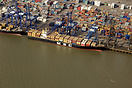 The container ship 'MSC Didem' in the Port of Felixstowe from the air