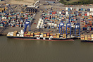 The container ship 'MSC Eleni' berthed in the Port of Felixstowe, UK f...