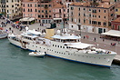 The 59 metre superyacht 'Marala' berthed in Venice. Marala is a classi...