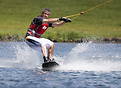 A wakeboarder using the Sheffield Cable Water Ski facility in Rother V...