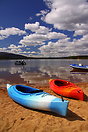 Kayaks on the shore of Loch Morlich in the Scottish Highlands.