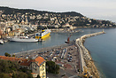 The small cruise ship 'Adriana' and Corsica Ferries' Mega Express bert...