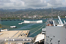 The Arizona Memorial viewed from the deck of the retired battleship BB...