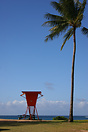 A lifeguard tower on Haena Beach, Hawaii
