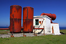 The disused foghorn adjacent to the lighthouse at Fair Isle's north en...