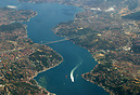 Aerial view of Istanbul and the Straits of Bosphorus showing the Fatih...