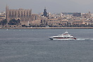 The 47m luxury Motor Yacht 'Celestial Hope' seen here entering the bay...