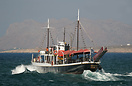 Departing Chania harbour's protective port and into rough seas, Irini ...