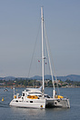 The Catana 43 catamaran 'Bright Wing' entering the inner harbour in Vi...