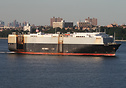 The vehicle carrier 'Bellona' departing New York.