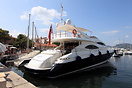 'Ruff One' is a 78ft Sunseeker flybridge fast motor yacht seen here be...