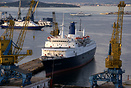 Monarch Classic Cruises 'Blue Monarch' at Salamina shipyards (Piraeus ...
