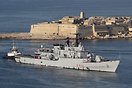The Italian frigate Aliseo steams past Fort Ricasoli as it enters Malt...