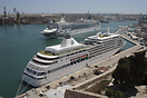 The Silver Whisper at its berth in Malta's Grand Harbour as the Norweg...