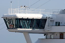 Close up of the bridge overhang. Ruby Princess is a Grand-class cruise...