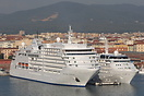 Silversea Cruises 'Silver Spirit' and 'Silver Wind' moored next to eac...