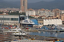 Overview of the famous Benetti shipyard at Livorno with new superyacht...