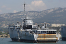 Ex Ouragan (L9021) small dock landing ship laid-up at Toulon. The ship...