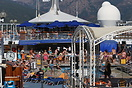 Top deck view of Thomson Cruises 'Thomson Destiny' while departing fro...