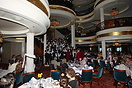 The Voyager of the Seas main three-story, chandelier-lit dining room w...