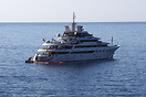 Mitsubishi Heavy Industries built 270ft Motor Yacht 'O'mega' seen moor...