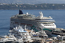 Cruise ship Norwegian Jade berthed at Monte Carlo amongst some rather ...