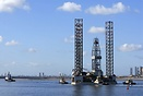Drilling platform Ensco 72 Seen here arriving Teesport Able UK yard fo...